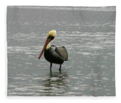Pelican In The Water Fleece Blanket