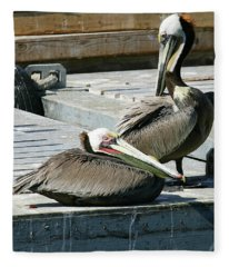 Pelican On The Dock Fleece Blanket