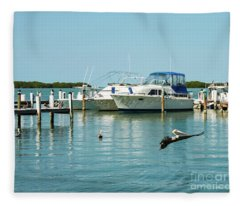 Pelican Soars At Marina In Florida Keys Fleece Blanket