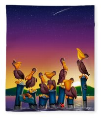 Pelican Sunset Whimsical Cartoon Tropical Birds Seascape - Vertical Fleece Blanket