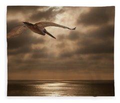 Pelican Sunset Fleece Blanket