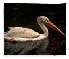 Pelican Swimming In Salisbury Fleece Blanket