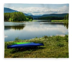 Pelicans At Shadow Mountain Lake Fleece Blanket