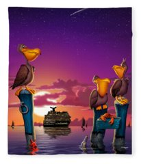 Pelicans On Poles At Sunset Tropical Cartoon Florida Seascape - Vertical Fleece Blanket