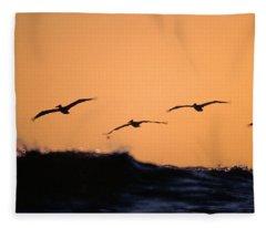 Pelicans Over The Pacific Fleece Blanket