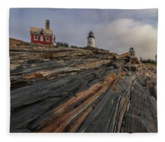 Pemaquid Point Cliffs Fleece Blanket