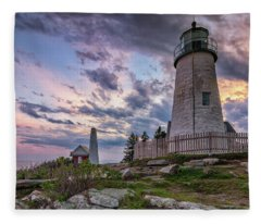 Pemaquid Point Lighthouse At Sundown Fleece Blanket