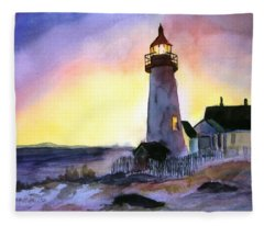 Pemaquid Point Lighthouse Maine Fleece Blanket
