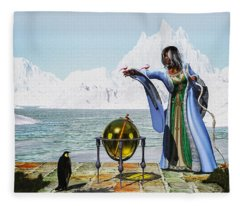 Penguin Magic And The Winter Witch Fleece Blanket