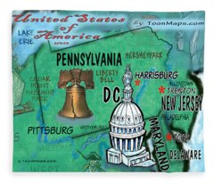Pennsylvania Fun Map Fleece Blanket