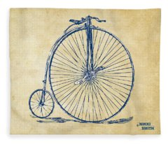 Penny-farthing 1867 High Wheeler Bicycle Vintage Fleece Blanket