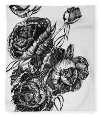 Peonies Line Drawing Fleece Blanket