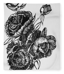 Peonies Line Drawing Fleece Blanket