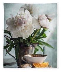 Peonies Tea And Oranges Fleece Blanket