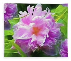 Fleece Blanket featuring the mixed media Peony Cluster 7 by Lynda Lehmann