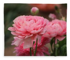 Peony Pink Ranunculus Closeup Fleece Blanket