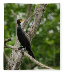 Perched Double-crested Cormorant Fleece Blanket