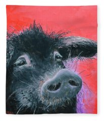 Percival The Black Pig Fleece Blanket