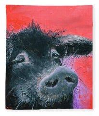 Percival The Black Pig Fleece Blanket