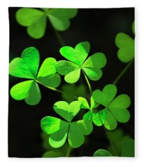 Perfect Green Shamrock Clovers Fleece Blanket