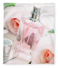 Perfume Bottle And Pink Roses.  Fleece Blanket