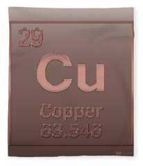 Periodic Table Of Elements - Copper - Cu - Copper On Copper Fleece Blanket