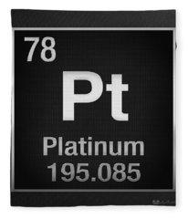 Periodic Table Of Elements - Platinum - Pt - Platinum On Black Fleece Blanket