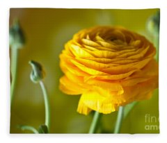 Persian Buttercup Flower Fleece Blanket