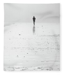 Person Running On Beach Fleece Blanket