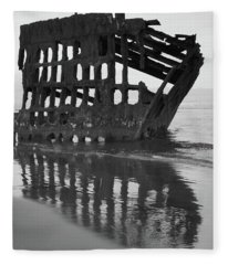Peter Iredale Shipwreck In Black And White Fleece Blanket