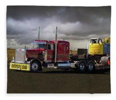 Peterbilt Semi Truck With Oversize Load Fleece Blanket