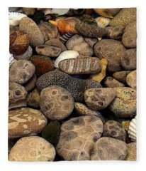 Petoskey Stones With Shells L Fleece Blanket