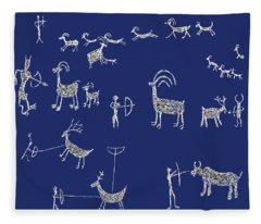 Petroglyph Hunting Ritual Fleece Blanket