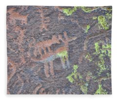 Petroglyph Wolf Attack Fleece Blanket