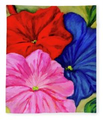 Petunias Mixed Fleece Blanket