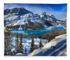 Peyto Lake Winter Panorama Fleece Blanket