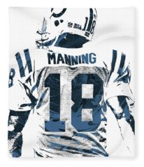 Peyton Manning Indianapolis Colts Pixel Art Fleece Blanket