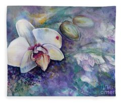 Phalaenopsis Orchid With Hyacinth Background Fleece Blanket