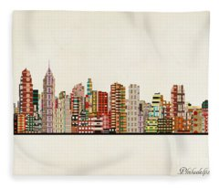Philadelphia City Skyline Fleece Blanket