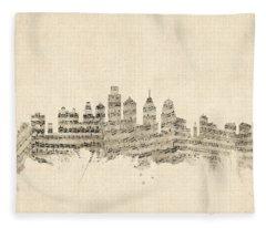 Philadelphia Pennsylvania Skyline Sheet Music Cityscape Fleece Blanket