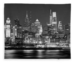 Philadelphia Philly Skyline At Night From East Black And White Bw Fleece Blanket