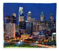 Philadelphia Skyline At Night Fleece Blanket