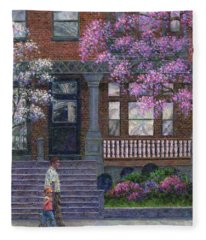 Philadelphia Street In Spring Fleece Blanket