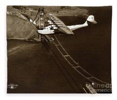 Philippine Clipper A Pan Am Clipper Over The Golden Gate Bridge  1935 Fleece Blanket