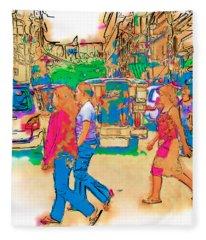Philippine Girls Crossing Street Fleece Blanket
