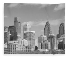 Philly Skyscrapers Black And White Fleece Blanket