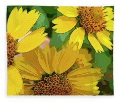Yellow Wildflowers Photograph II Fleece Blanket