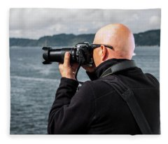 Photographer At Work Fleece Blanket