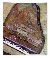 Piano In Bronze Fleece Blanket