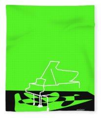 Piano In Green Fleece Blanket